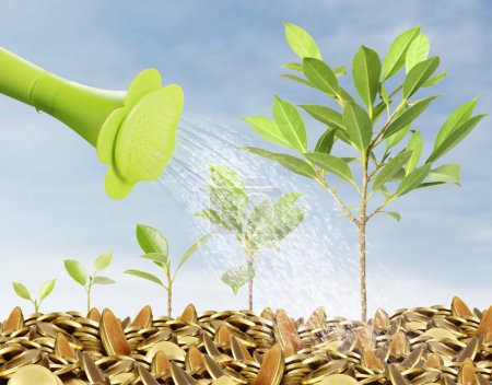 Photo for Watering can pouring molten gold the gold coins - Royalty Free Image