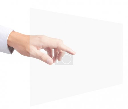 Photo pour Appuyer à la main sur un bouton tactile - image libre de droit