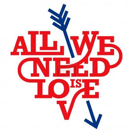 Illustration pour Typographie cardiaque. Tout ce qu'il nous faut, c'est l'amour. Style géométrique art déco . - image libre de droit