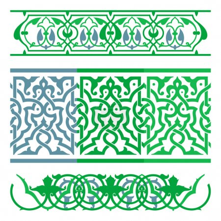 Illustration for Arabic oriental ornament, floral pattern motif, arabesque, arabic ornament. Arabic art. - Royalty Free Image