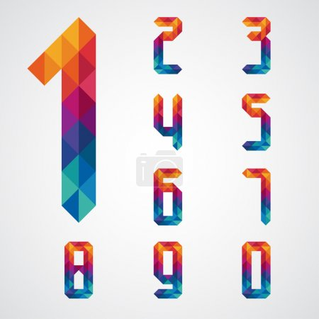 Number set with colorful diamond