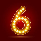 Number 6 with realistic lamp vector illustration