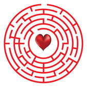 Love heart maze or labyrinth valentine's day vector illustration