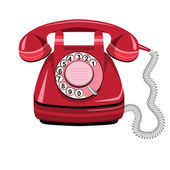 Telephone red vector old rotary phone