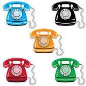 Telephone set vector old rotary phone