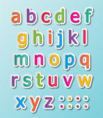 Colorful paper font signs smalll letters A-Z