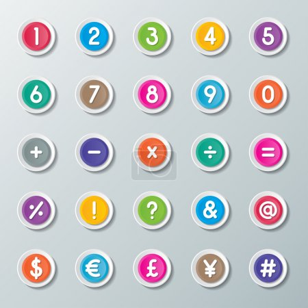 Numbers 0 to 9 and symbols on colorful paper butto...