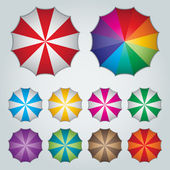 Top view ten colorful umbrellas