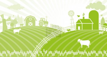 Illustration for A study describing the beginning of the day on the farm. - Royalty Free Image
