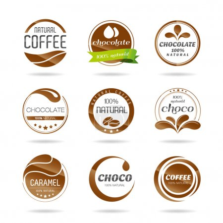 Chocolate, coffe and caramel icon design - sticker.