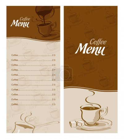 Coffee menu card for different types of coffee