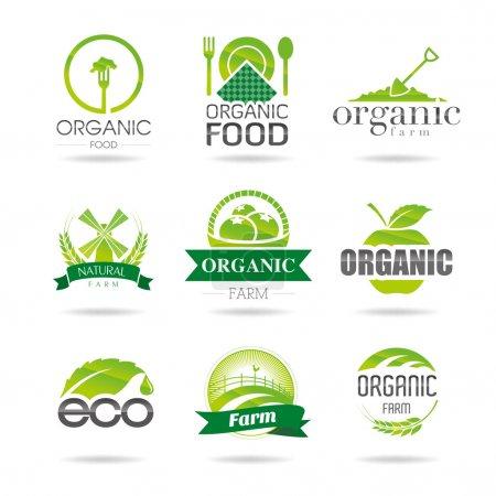 Ecology, organic, farm icon set. Eco-icons