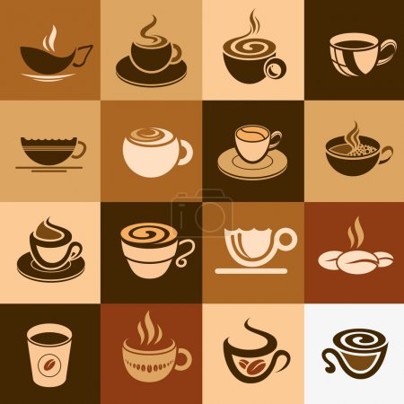 Coffee and tea cup set, vector icon collection.