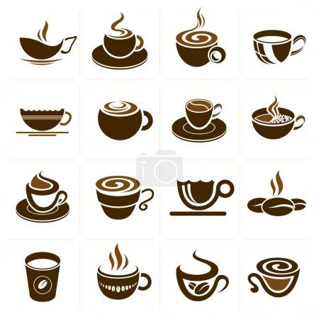 Illustration pour Café, thé et boissons connexes icônes dessins qui peuvent être utilisés dans chaque travail . - image libre de droit