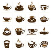 Coffee and tea cup set vector icon collection