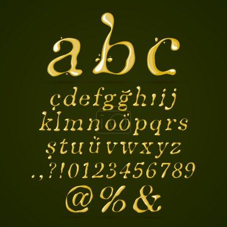 Olive oil alphabet lower case italic