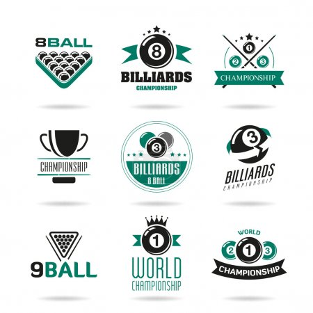 Billiards and snooker icons set - 2