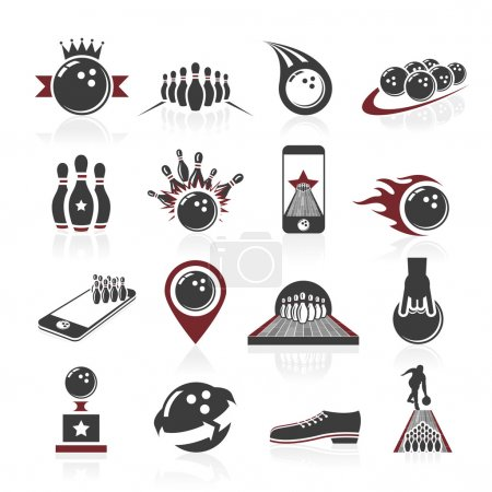 Bowling icon set