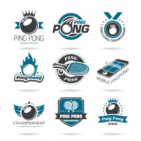 Ping pong icon set - 2