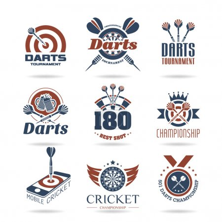 Illustration for Darts set of quality icons that can be used on - Royalty Free Image