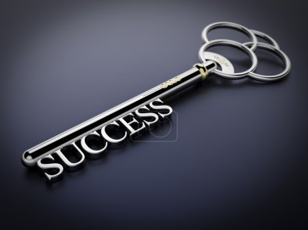 Photo for A silver key with the word Success on dark blue surface - Royalty Free Image