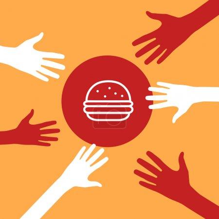 Hands reach for a burger.