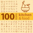 Set of 100 icons of different types of cookware, food, fruits and vegetables on a colored background