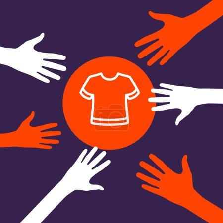 Hands reach for a  T-shirt.