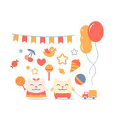 Character little girl in a dress  with a bow on head and boy in pants with a bow on head colorful flat composition of child accessories  Cat male and female stand smiling and holding a  candy and toy car