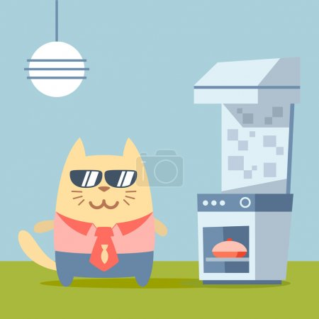 Illustration for Character businessman in a business suit with a tie and sunglasses colorful flat. Cat male stands in the kitchen near the stove - Royalty Free Image