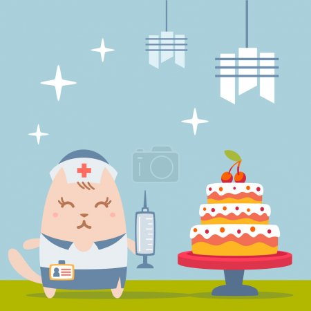 Illustration pour Infirmière de caractère en uniforme avec une casquette médicale plat coloré. Cat femelle se tient près du grand beau gâteau tenant une seringue - image libre de droit