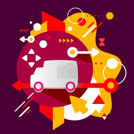 Illustration for Truck on abstract dark colorful spotted background with different elements. Flat design for the web, print, banner, advertising. - Royalty Free Image