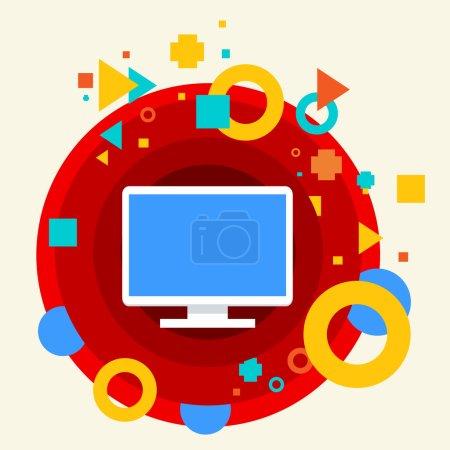 Illustration pour Écran de moniteur sur abstrait coloré fabriqué à partir de cercles de fond avec différents éléments. Conception plate pour le web, impression, bannière, publicité . - image libre de droit