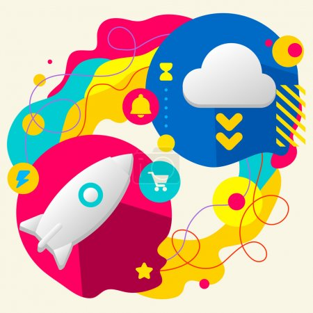 Illustration for Rocket and cloud on abstract colorful splashes background with different icon and elements. Flat design for the web, print, banner, advertising. - Royalty Free Image
