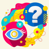 Eye and question mark on abstract colorful splashes background with different icon and elements Flat design for the web print banner advertising