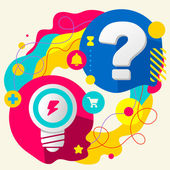 Light bulb and question mark on abstract colorful splashes background with different icon and elements Flat design for the web print banner advertising
