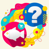 Fish and question mark on abstract colorful splashes background with different icon and elements Flat design for the web print banner advertising