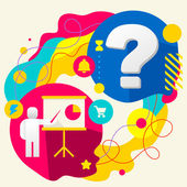 Human with a pointer and question mark on abstract colorful splashes background with different icon and elements Flat design for the web print banner advertising