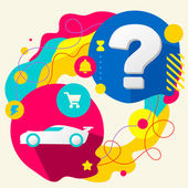 Sports car and question mark on abstract colorful splashes background with different icon and elements Flat design for the web print banner advertising