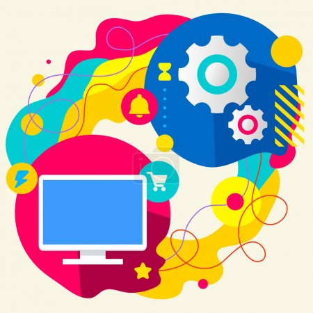 Illustration for Monitor screen and gears on abstract colorful splashes background with different icon and elements. Internal mechanism, structure and operating principles. Flat  design for the web, print, banner, advertising. - Royalty Free Image