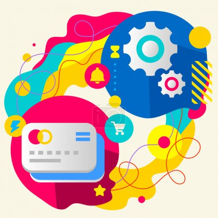 Illustration for Bank cards and gears on abstract colorful splashes background with different icon and elements. Internal mechanism, structure and operating principles. Flat  design for the web, print, banner, advertising. - Royalty Free Image