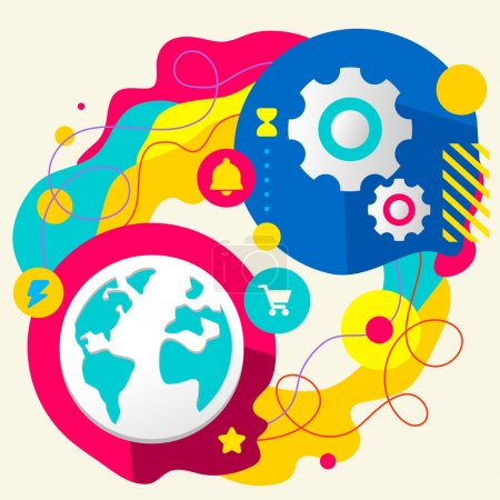 Illustration for Planet and gears on abstract colorful splashes background with different icon and elements. Internal mechanism, structure and operating principles. Flat  design for the web, print, banner, advertising. - Royalty Free Image