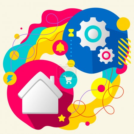 Illustration for House and gears on abstract colorful splashes background with different icon and elements. Internal mechanism, structure and operating principles. Flat  design for the web, print, banner, advertising. - Royalty Free Image