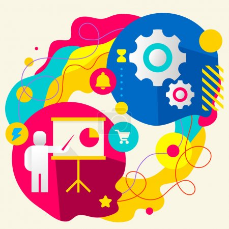 Illustration for Human with a pointer and gears on abstract colorful splashes background with different icon and elements. Internal mechanism, structure and operating principles. Flat  design for the web, print, banner, advertising. - Royalty Free Image