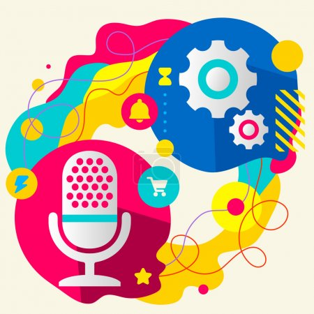 Illustration for Microphone and gears on abstract colorful splashes background with different icon and elements. Internal mechanism, structure and operating principles. Flat  design for the web, print, banner, advertising. - Royalty Free Image