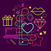 Symbols of choosing a gift via the Internet