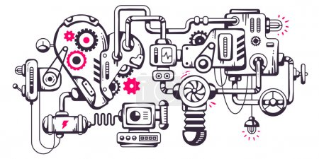 Illustration for Vector industrial illustration background of the operating mechanism. Working heart. Line Art - Royalty Free Image