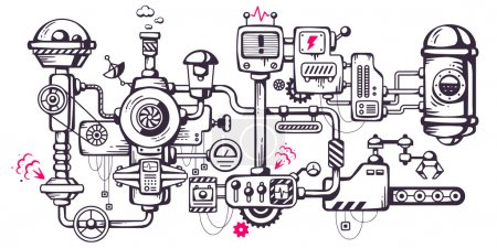 Illustration for Vector industrial illustration background of the operating mechanism. Complicated mechanism at work. Line Art - Royalty Free Image