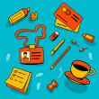Color bright illustration concept of office accessories and different objects.