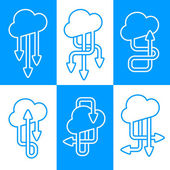 Set of vector icons of clouds with arrows in different direction